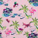 Pink Tiki Rashguard  by Shade Critters UPF50