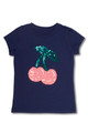 Navy Flip Sequin Tee Shirt with Cherries