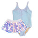 Picture of Silver Rib Knit 1PC Swimsuit & Pink Paillette Skirt