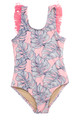 One Piece Fringe Back - Pink Monstera -