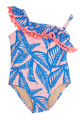 One Shoulder One Piece w/ Pom Pom Trim - Blue Palm Reader