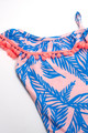 pic of One Shoulder One Piece w/ Pom Pom Trim - Blue Palm Reader