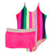 One Piece w/ Fringe Tutu - Multi Stripe