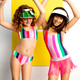 Lifestyle Photo of One Piece w/ Fringe Tutu - Multi Stripe