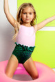 Alt Image of One Piece Puffed Mermaid Swimsuit - Pink & Green