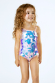 One Piece One shoulder -  light pink irredescent paillete suit