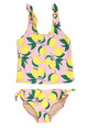 Two piece tankini - tie side yellow/pink  lemon print