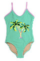 pic of One Piece flip sequins- green stripe palm trees suit