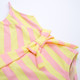 alt pic of One Piece faux wrap - belted pink & yellow stripe suit
