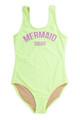 """alt pic of One Piece tank suit- neon citron """"mermaid squad"""" suit"""