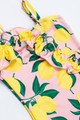 pic of One Piece ruffle front-  yel/pnk lemon print suit