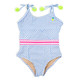 Blue Pinstripe & Embroidered Pineapple Cutout Swimsuit