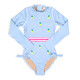 One Piece Longsleeve - Blue Pinstripe Embroidered Pineapple