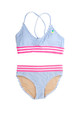 Two Piece tie back bikini -blue pinstripe embroidered pineapple