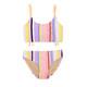Two Piece Braided Strap Bikini - Summer Coral Stripe