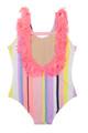 Back View of Summer Coral Stripe - Fringe Back Swimsuit