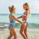 Lifestyle of  Two Piece Bikini - Navy Daisy w/ Ribbed Trim