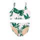 Pink Tropical Palm 2PC Braided Strap Bikini