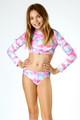 Detail of Two Piece Cropped Rashguard Set- Cotton Candy Tie Dye
