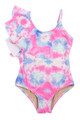 One Piece Asymmetrical Ruffle- Cotton Candy Tie Dye