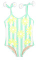 Striped Mint Daisy Magic Sequin 1PC Swimsuit - Flipped Sequins