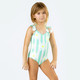 Front View of Striped Mint Daisy Magic Sequin 1PC Swimsuit