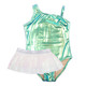 Mint Liquid Metal One Shoulder 1PC Swimsuit + Organza Tutu