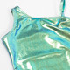 Detail of Mint Liquid Metal One Shoulder 1PC Swimsuit + Organza Tutu