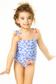 Detail of One Piece Belted Tank Suit- Blue Daisy with Luxe Trim