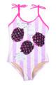 Striped Magenta Pineapple Magic Flip Sequin 1PC Swimsuit
