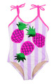 Striped Magenta Pineapple Magic Flip Sequin 1PC Swimsuit