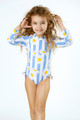 Detail of Long Sleeved One Piece w/Tutue-  Cabana Striped Daisy