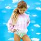 Terry Jogger Hoodie- Pink Tie Dye styled