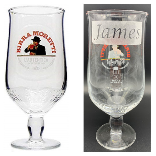Birra Moretti Pint Glass Personalised with a Name