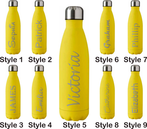 Personalised 500ml Steel Water Bottle - Yellow