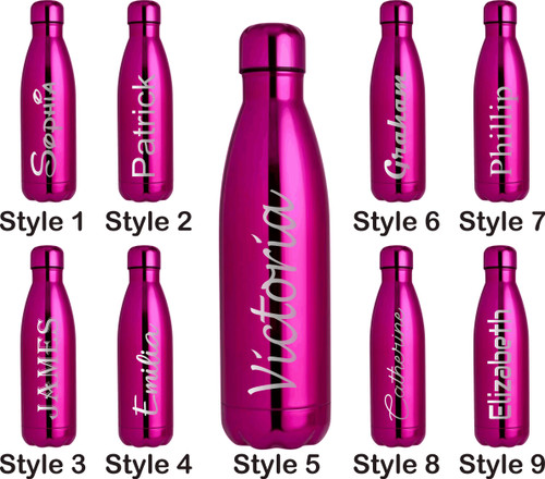 Personalised 500ml Steel Water Bottle - Metallic Pink