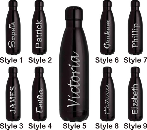 Personalised 500ml Steel Water Bottle - Metallic Black