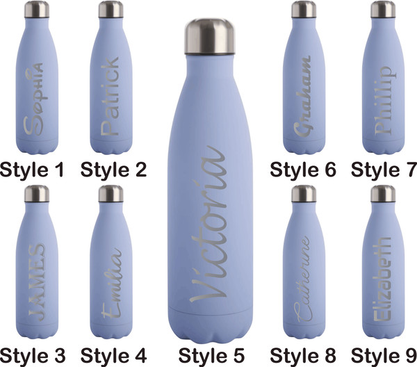 Personalised 500ml Steel Water Bottle - Matt Blue
