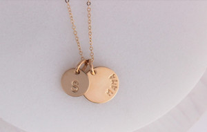 MAMA + initials • 14k gold filled