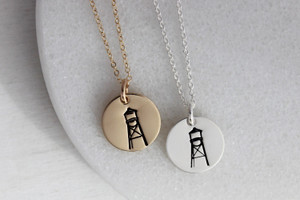 Water Tower necklace • gold or silver