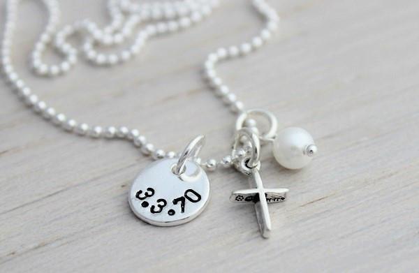 baptism charm necklace