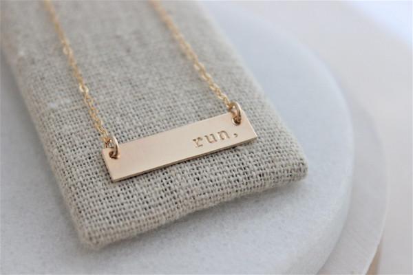 run. bar necklace | gold or silver