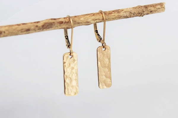 rectangle earrings • silver or gold