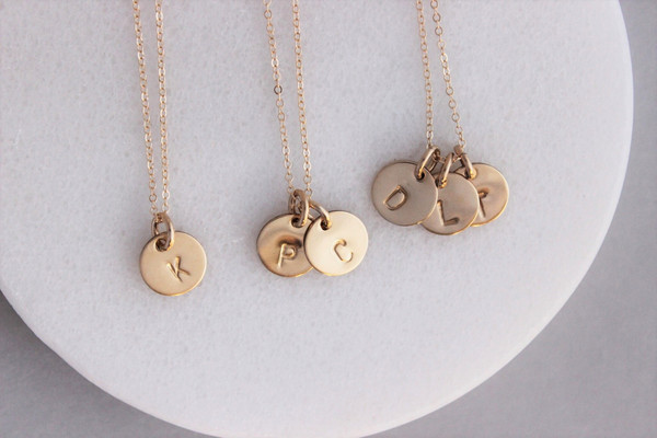 "3/8"" initials necklace 