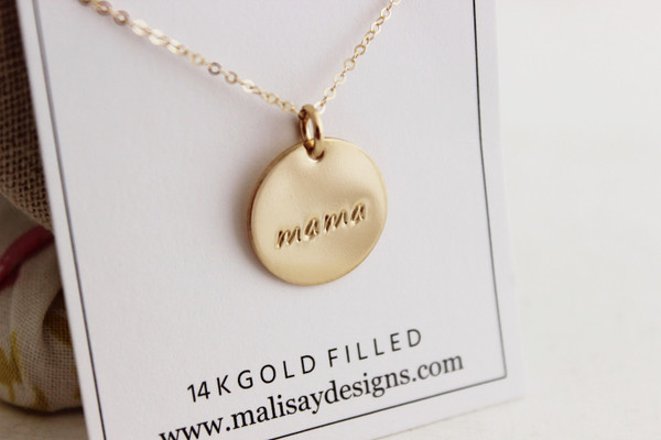 """mama 5/8"""" round  • gold or silver"""