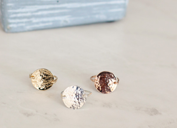 Hammered Round Rings • gold or silver   made to order