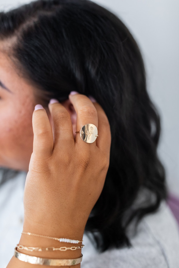Flower ring    gold or silver - made to order