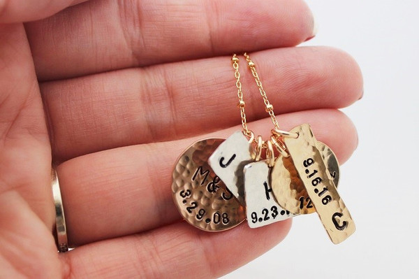 mixed metals family necklace • gold + silver
