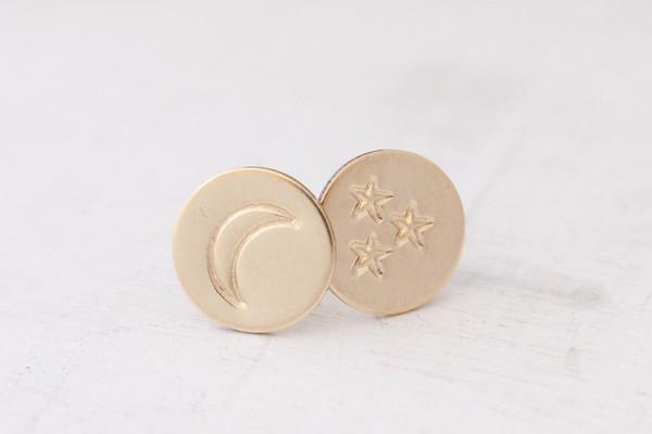 moon + stars post earrings