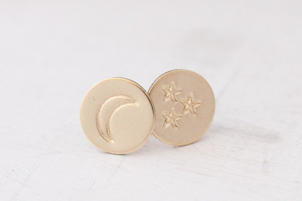 moon + stars post earrings